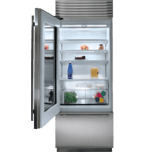 "Subzero 30"" Classic Over-and-Under Refrigerator/Freezer with Glass Door - Panel Ready"