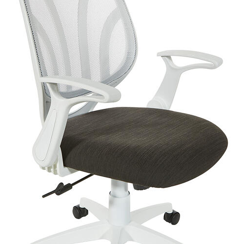 Office Star - Black Mesh Seat With White Frame Chair