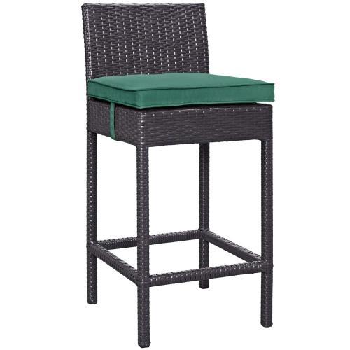 Convene Outdoor Patio Fabric Bar Stool in Espresso Green