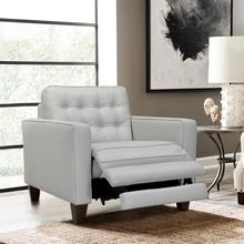 See Details - Wesley Dove Grey Genuine Leather Extendable Power Footrest Tuxedo Arm Accent Chair