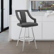 """Maxen 30"""" Gray Faux Leather and Brushed Stainless Steel Swivel Bar Stool"""
