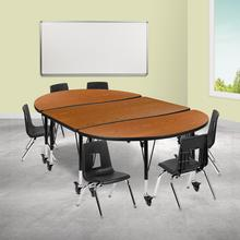 "Mobile 76"" Oval Wave Collaborative Laminate Activity Table Set with 14"" Student Stack Chairs, Oak\/Black"