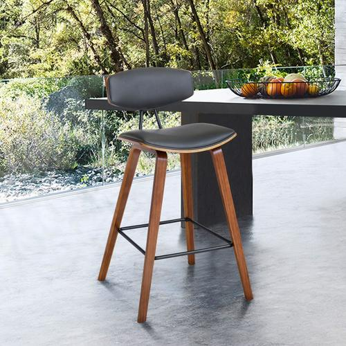 """Fox 26"""" Mid-Century Counter Height Barstool in Gray Faux Leather with Walnut Wood"""