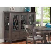 See Details - Florence China Cabinet w/3 Glass Doors & 4/Dwrs & 2/Glass Shelves & Glass Gables & LED Lighting