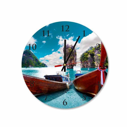 Grako Design - Koh Phi Phi Long Tail Boat Taxi Round Square Acrylic Wall Clock