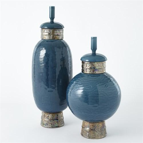 Maze Jar-Cobalt/Antique Gold-Tall