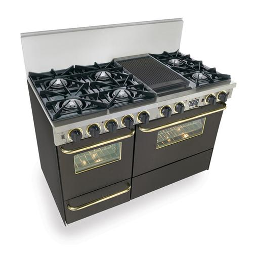 """Five Star - 48"""" Dual Fuel, Convect, Self Clean, Open Burners, Black with Brass"""