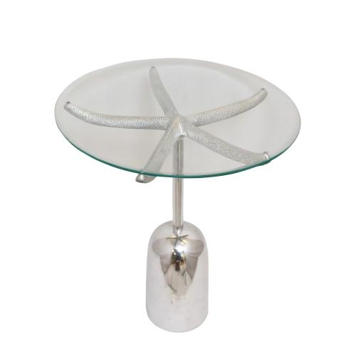 Outer Banks Metal and Glass Accent Table