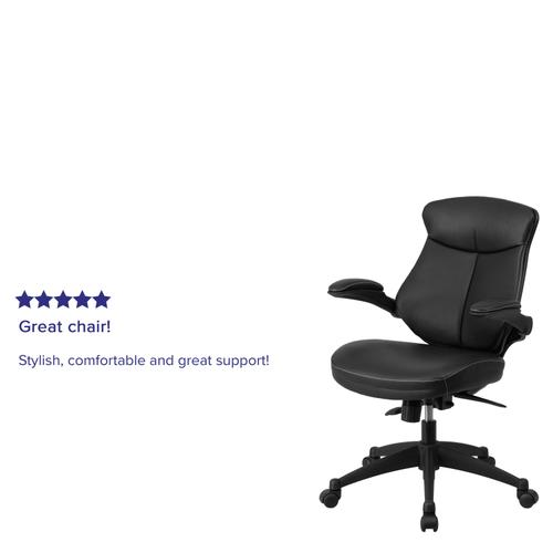 Gallery - Mid-Back Black LeatherSoft Executive Swivel Ergonomic Office Chair with Back Angle Adjustment and Flip-Up Arms