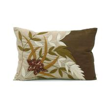 Chocolate and Taupe Leaf Design Pillow