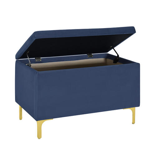 29 Inch Hinged Top Storage Bench w/ Grid-Tufted Seat in Navy