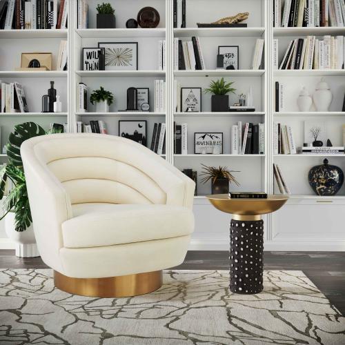 Canyon Cream Velvet Swivel Chair