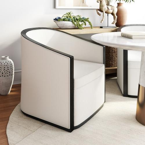 Wood Framed Barrel Accent Chair in Linen Beige