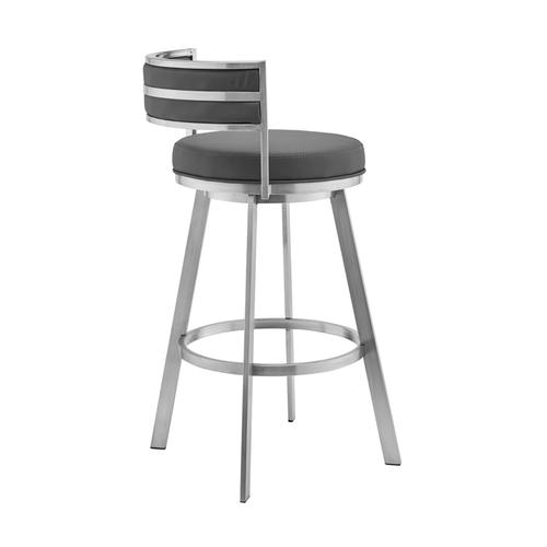 """Roman 30"""" Gray Faux Leather and Brushed Stainless Steel Swivel Bar Stool"""