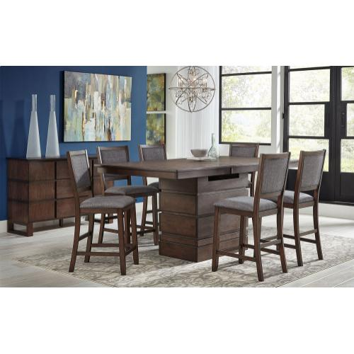 Chesney High-Low Convertible Height Storage Table and 6 Stools
