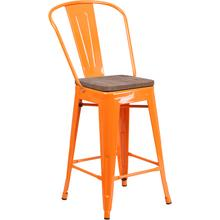 """See Details - 24"""" High Orange Metal Counter Height Stool with Back and Wood Seat"""