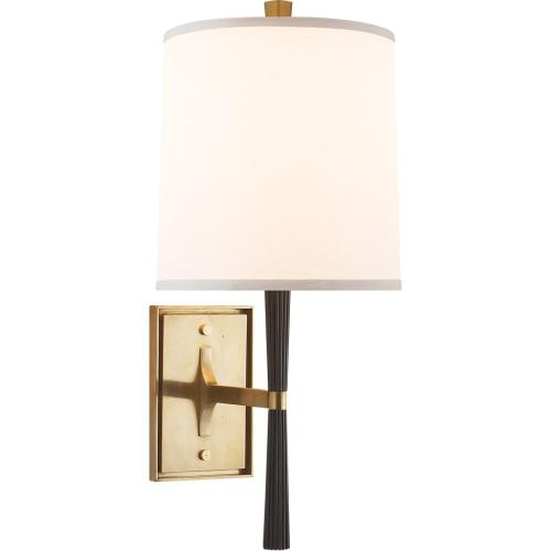 Visual Comfort BBL2036EBO-S Barbara Barry Refined Rib 1 Light 8 inch Ebonized Oak and Soft Brass Decorative Wall Light