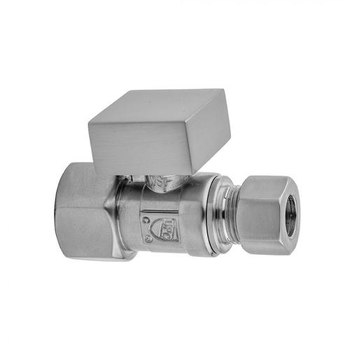 """Satin Nickel - Quarter Turn Straight Pattern 3/8"""" IPS x 3/8"""" O.D. Supply Valve with Square Handle"""