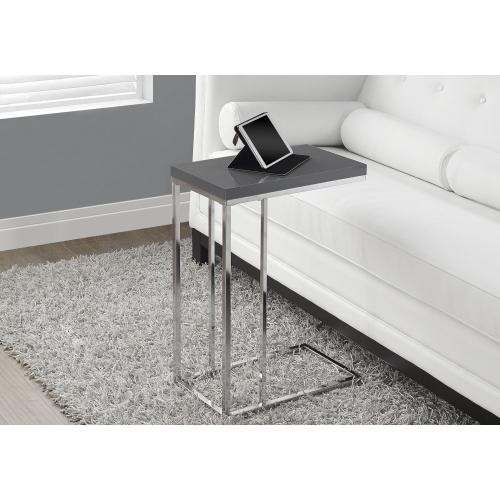 Gallery - ACCENT TABLE - GLOSSY GREY WITH CHROME METAL