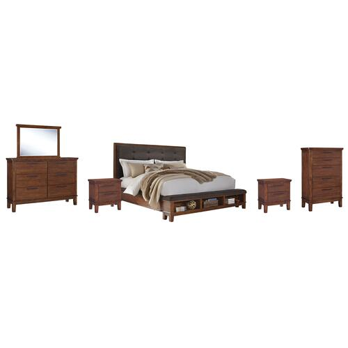 Ashley - Queen Upholstered Panel Bed With Dresser, Chest and 2 Nightstands