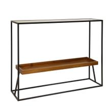 "Metal/wood 31"" 2-tier Console Table, Black/brown"