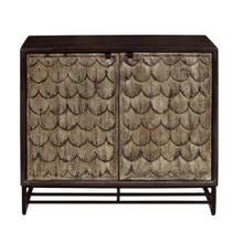 Scale Carved Wooden Two Door Chest in Rustic Brown