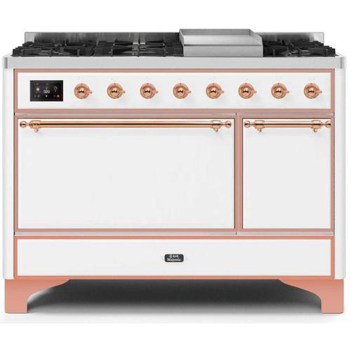 Ilve - Majestic II 48 Inch Dual Fuel Natural Gas Freestanding Range in White with Copper Trim