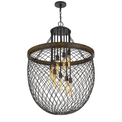 Marion Metal/Wood Mesh Shade Chandelier (Edison Bulbs Not included)