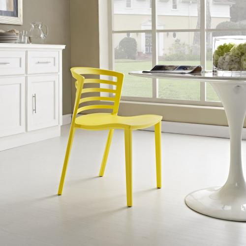 Curvy Dining Side Chair in Yellow