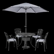 See Details - Largo 5 Piece Outdoor Dining Set With Umbrella