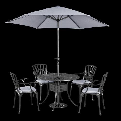 homestyles - Largo 5 Piece Outdoor Dining Set With Umbrella