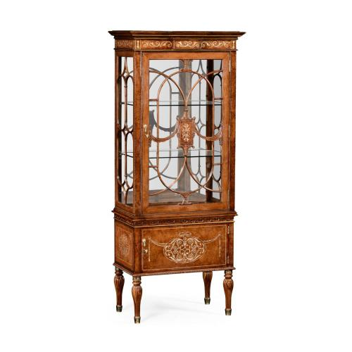 Right Opening Burl & Mother of Pearl Display Cabinet