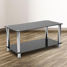 See Details - Riverside Collection Black Glass Coffee Table with Shelves and Stainless Steel Frame