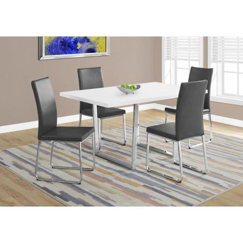 "DINING CHAIR - 2PCS / 38""H / GREY LEATHER-LOOK / CHROME"