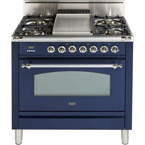 Ilve - Nostalgie 36 Inch Gas Natural Gas Freestanding Range in Blue with Chrome Trim