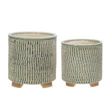 """View Product - S/2 Ceramic 6/8"""" Textured Footed Planters, Green"""