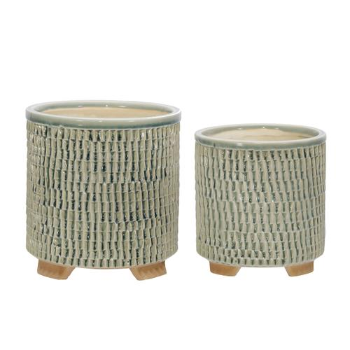 """Sagebrook Home - S/2 Ceramic 6/8"""" Textured Footed Planters, Green"""