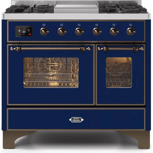 Majestic II 40 Inch Dual Fuel Natural Gas Freestanding Range in Blue with Bronze Trim