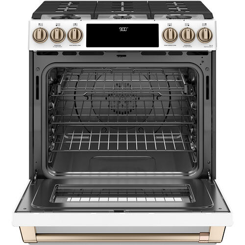 Cafe Canada - Café ™ 30'' Slide-In Front Control Dual-Fuel Convection Range with Warming Drawer Matte White