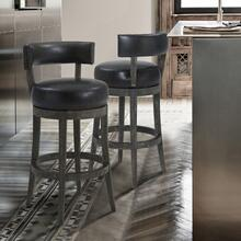 "Armen Living Corbin 26"" Counter Height Barstool in American Grey Finish and Onyx Faux Leather"