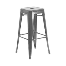 Tolix Style Backless Metal Industrial Stacking Bar Height Stool - Reproduction - Black, Set-of-1