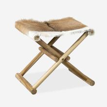 See Details - Campaign Folding Stool-Brown&White Leather/Teak