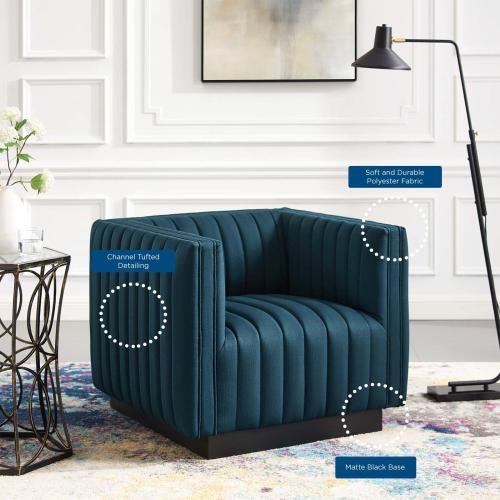 Conjure Tufted Upholstered Fabric Armchair in Azure