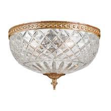 2 Light Brass Crystal Ceiling Mount II
