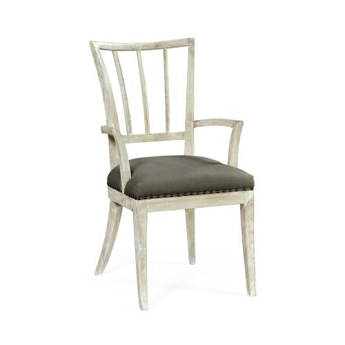 Lucillo Washed Acacia Carver Arm Chair