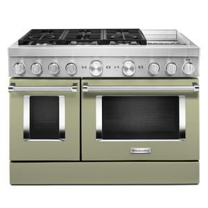 KitchenAid® 48'' Smart Commercial-Style Dual Fuel Range with Griddle - Avocado Cream Product Image