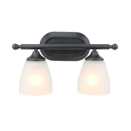 2 Light Vanity in Flat Black Finish