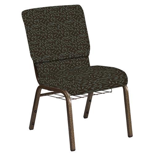 Flash Furniture - 18.5''W Church Chair in Jasmine Chocaqua Fabric with Book Rack - Gold Vein Frame