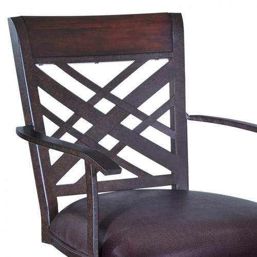 "Armen Living Tahiti 30"" Arm Barstool in Auburn Bay finish with Brown Pu upholstery"