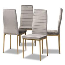 View Product - Baxton Studio Armand Modern Glam and Luxe Grey Velvet Fabric Upholstered and Gold Finished Metal 4-Piece Dining Chair Set